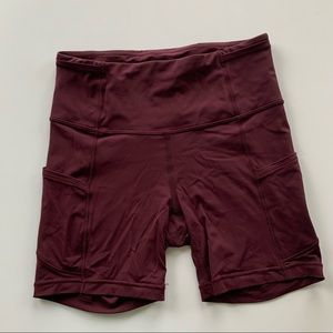 Maroon Lululemon Fast and Free Short 6inch
